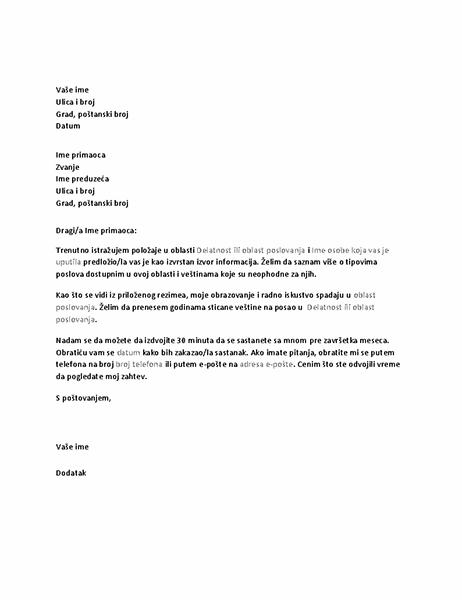 Pismo sa zahtevom za informativni razgovor