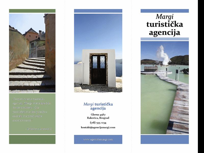 Turistička brošura u triptih formatu (plavi i zeleni dizajn)