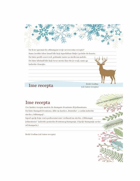 Recepti (dizajn u božićnom duhu, podržava Avery 5889, 2 po stranici)