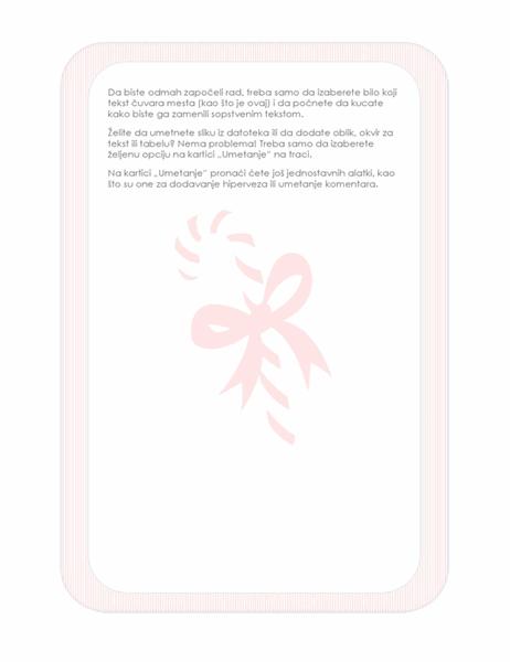 Podloga za pisanje sa praznicima (sa vodenim žigom božićne lizalice)