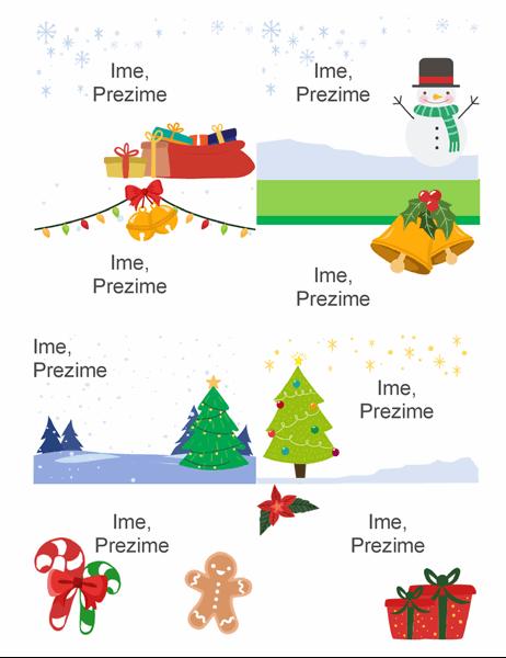 Praznični bedževi sa imenom (8 po stranici, dizajn u božićnom duhu, podržavaju Avery 5395 i sl.)