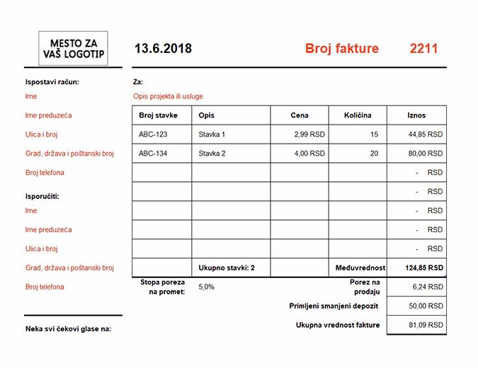 Faktura koja izračunava ukupnu vrednost (položeno)