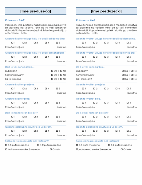 Anketa o restoranu (2 po stranici)