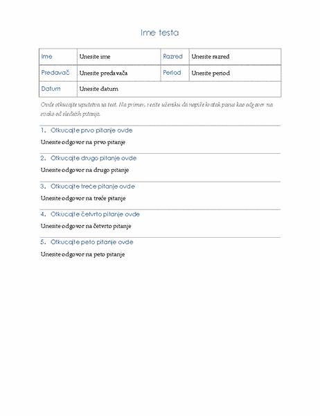 Test sa esej-pitanjima
