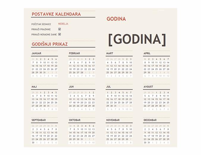 Bilo koji godišnji kalendar sa praznicima
