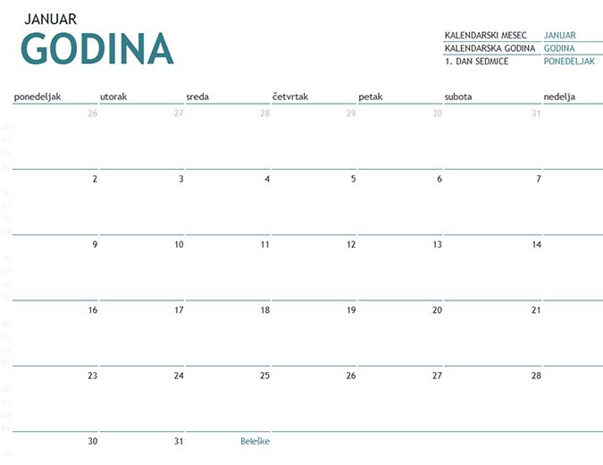 Jednomesečni kalendar za bilo koju godinu sa beleškama