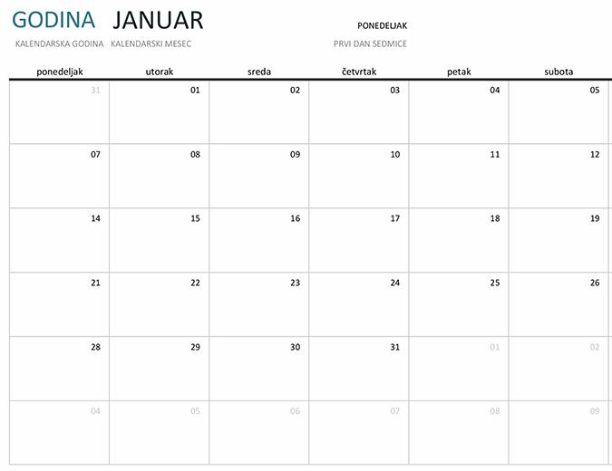Jednomesečni kalendar za bilo koju godinu