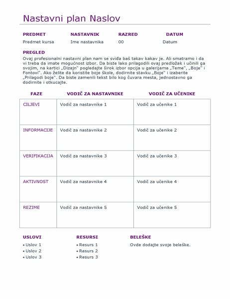 Dnevni planer lekcija (u boji)