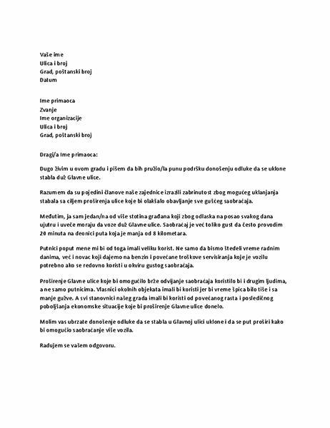 Pismo podrške lokalnom zvaničniku