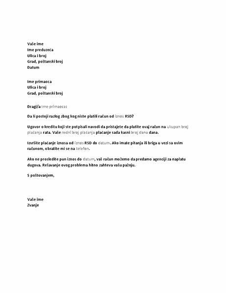 Pismo koje zahteva plaćanje neizmirenog računa