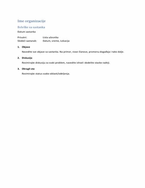 Beleške sa sastanka (kratki obrazac)