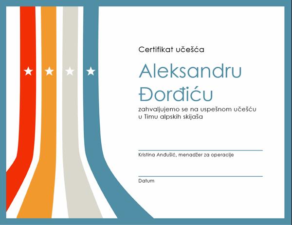 Certifikat o učešću