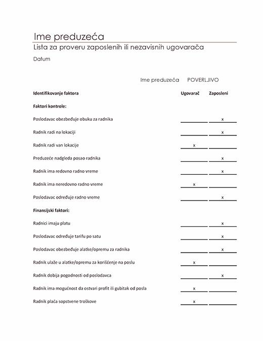 Lista za proveru zaposlenih ili nezavisnih dobavljača