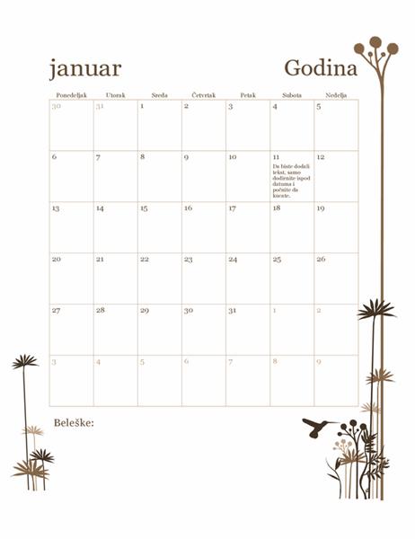 Kalendar od 12 meseci sa dizajnom kolibrija (pon–ned)