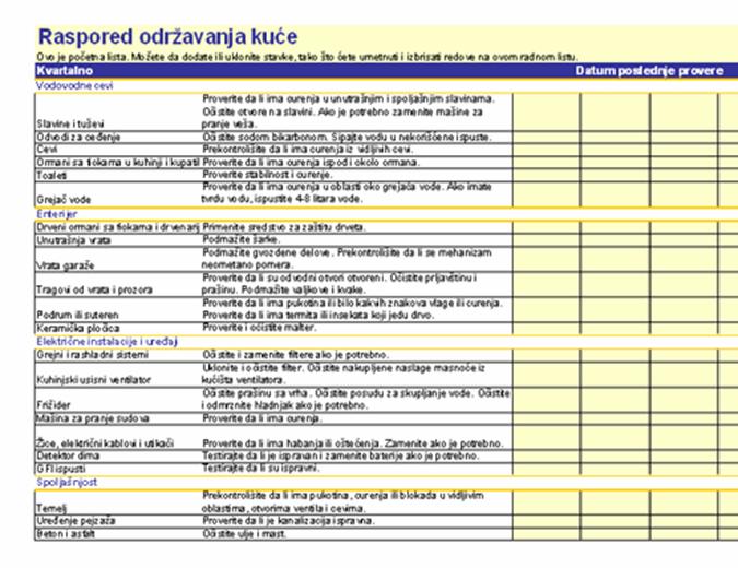 Raspored održavanja kuće