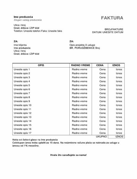 Faktura za usluge sa satima i cenom