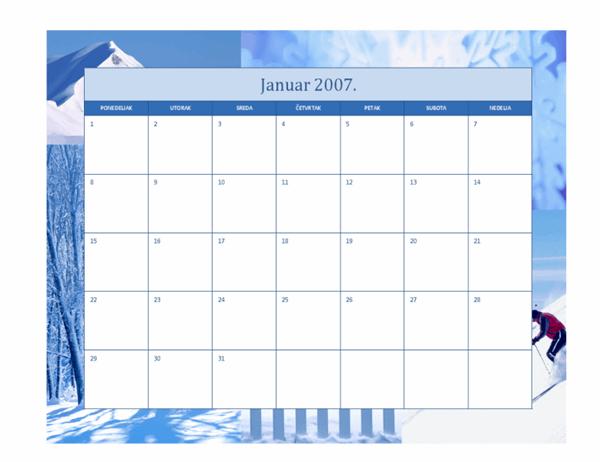 Kalendar za 2007. godinu (12 stranica, praznični dizajn)