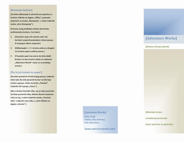 Brošura (8 1/2 x 11, položeno, 2 lista)