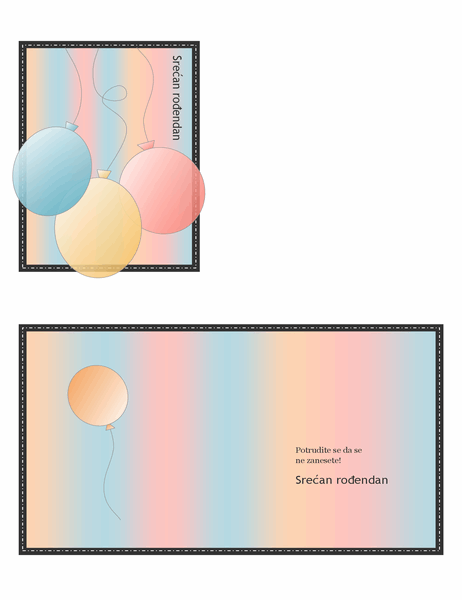 Kartica sa rođendanskom čestitkom (sa balonima i trakama, presavijena na četvrtinu)