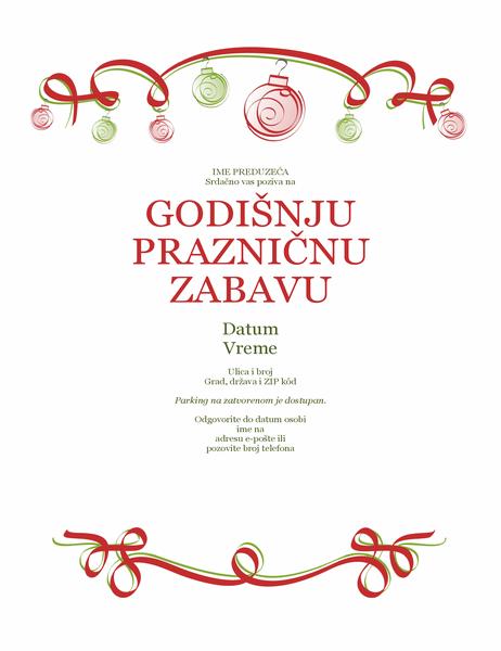 Pozivnica za prazničnu zabavu sa ornamentima i crvenom trakom (formalni dizajn)