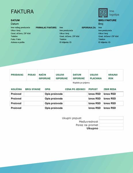Izlazna faktura (dizajn sa zelenim prelivom)