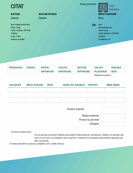 Ponuda za prodaju (dizajn sa zelenim prelivom)