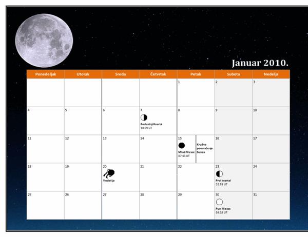 Lunarni kalendar za 2010. godinu (univerzalno vreme)
