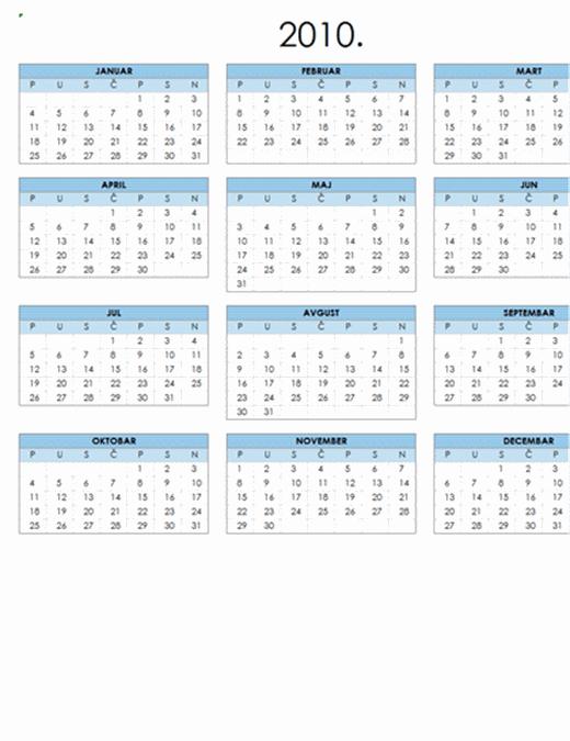 Kalendar za 2010. godinu (1 stranica, položeno, pon-ned.)
