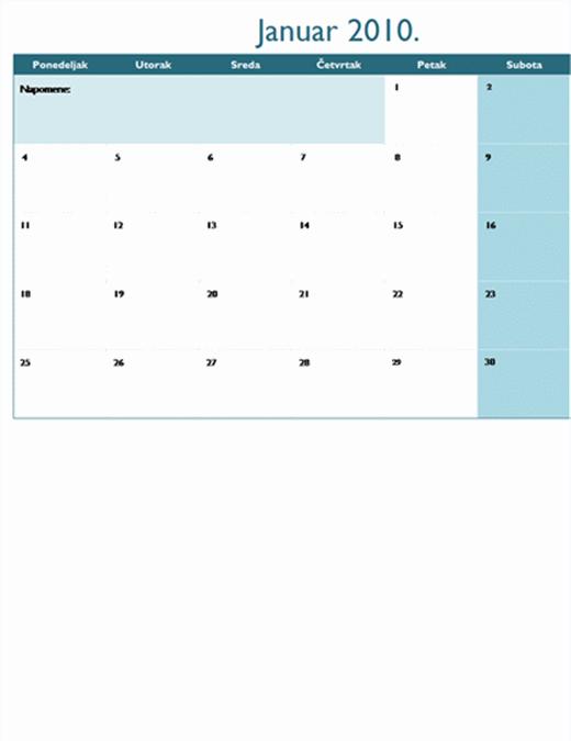 Kalendar za 2010. godinu na više radnih listova (12 stranica, pon-ned.)