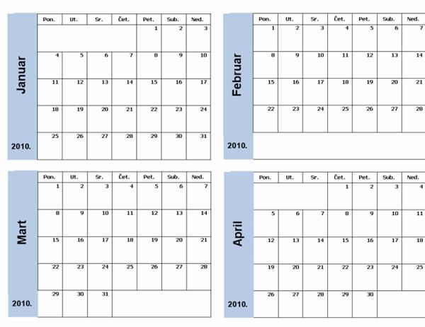 Kalendar za 2010. godinu sa plavom ivicom (3 str.)