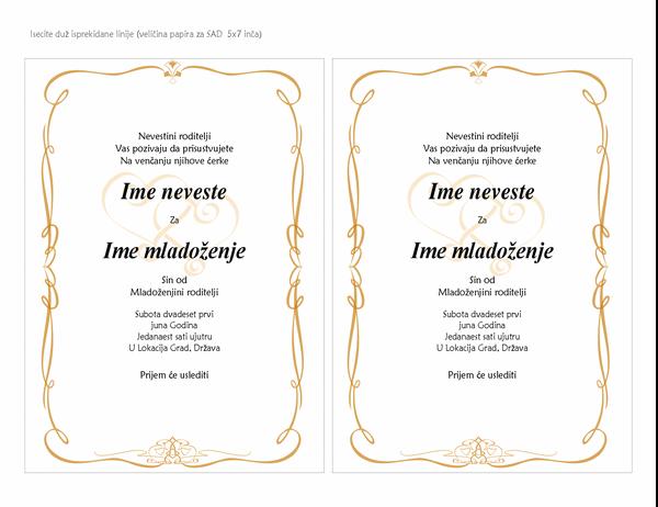 Pozivnice za venčanje (dizajn svitka sa srcem, A7 veličina, 2 po stranici)