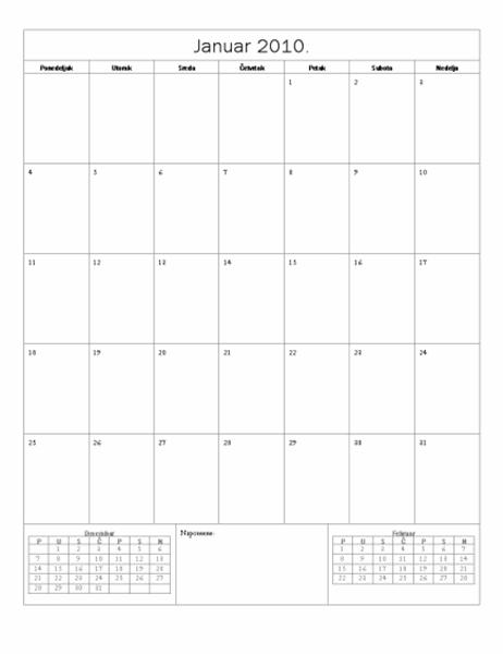 Kalendar za 2010. godinu (osnovni dizajn)