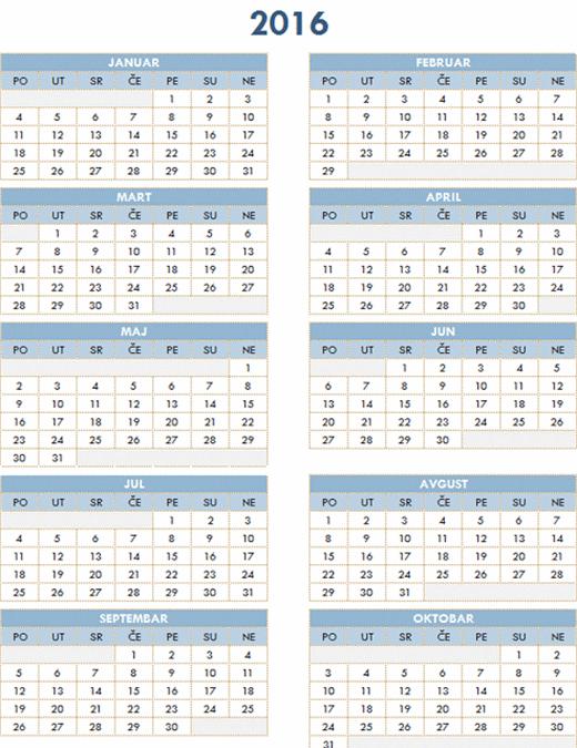 2016–2025 godišnji kalendar