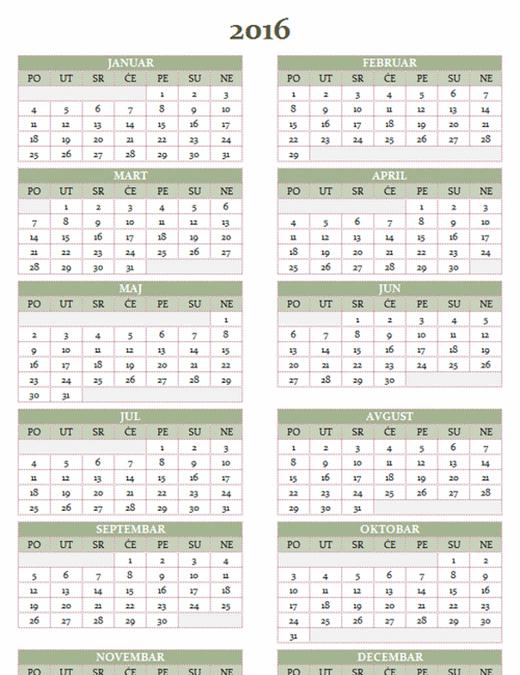 Godišnji kalendar za 2016–2025. (pon–ned)