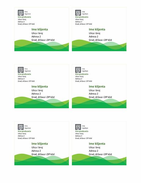 Nalepnice za isporuku (dizajn sa zelenim talasima, 6 po stranici)
