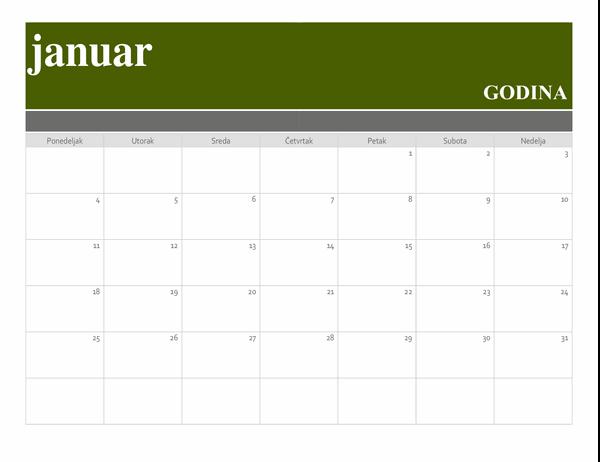 Predložak kalendara sa reklamnim natpisom
