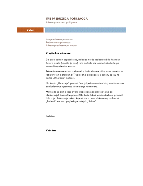 Poslovno pismo (Medijana tema)