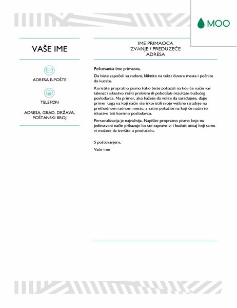 Kreativno propratno pismo koje je dizajnirao MOO