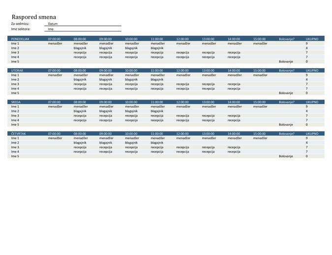 Raspored smena zaposlenih