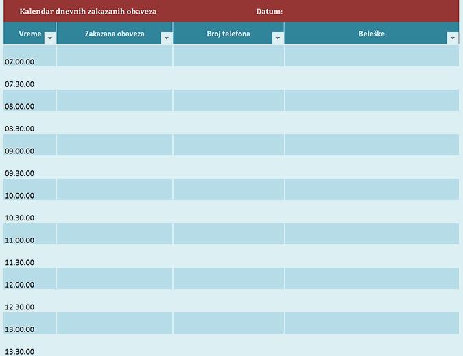 Kalendar dnevnih zakazanih obaveza