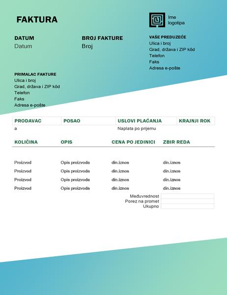 Faktura za uslugu (dizajn sa zelenim prelivom)