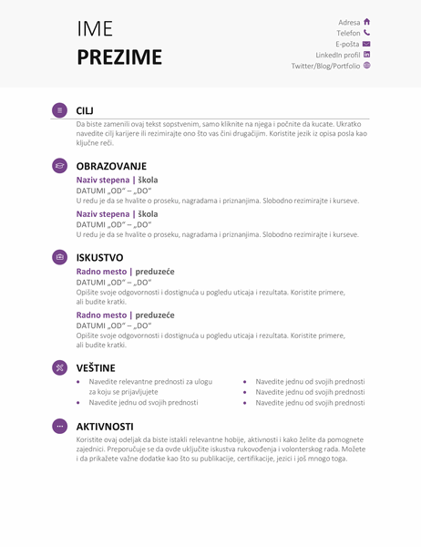 Studentska biografija (moderni dizajn)