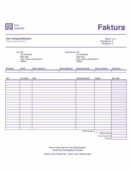 Izlazna faktura (Jednostavan linijski dizajn)