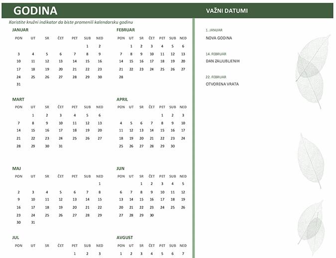 Kalendar za preduzeća (bilo koja godina, pon–ned)