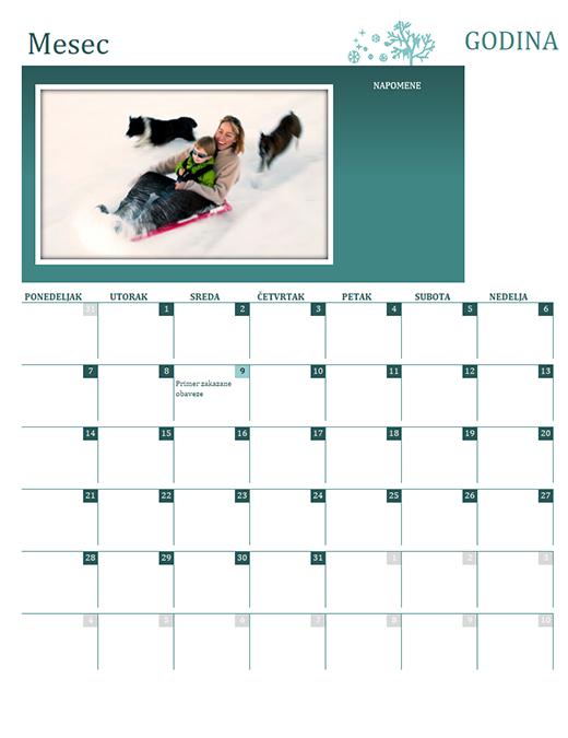 Kalendar sa godišnjim dobima (bilo koja godina, pon-ned)