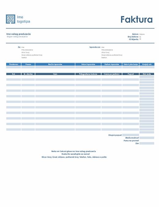 Izlazna faktura (jednostavan plavi dizajn)