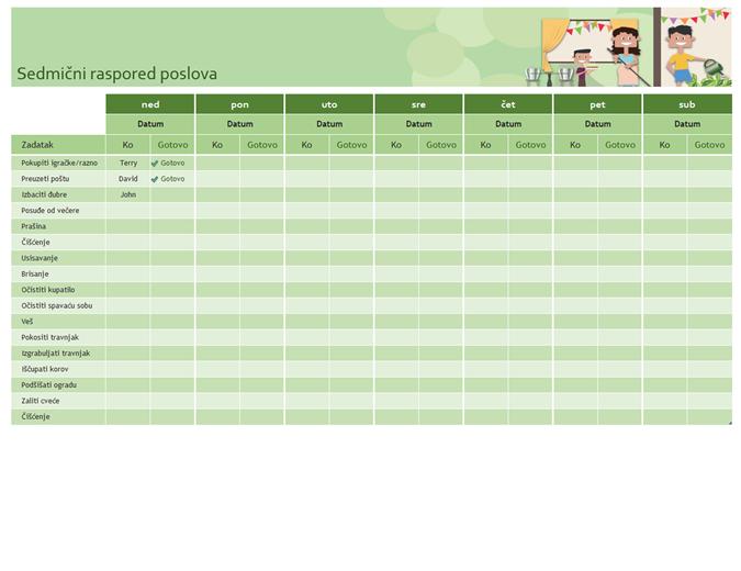 Sedmični raspored poslova u domaćinstvu