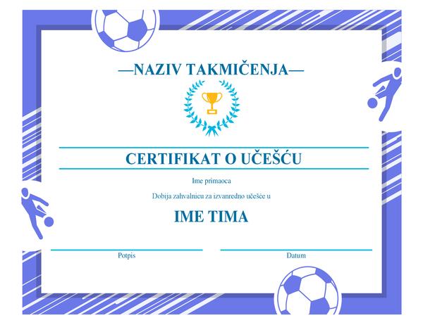 Sertifikat za četiri sportske nagrade