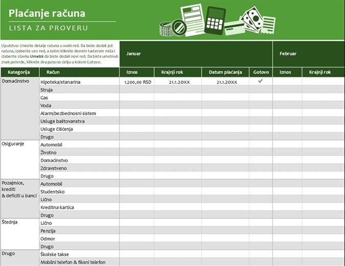 Lista za proveru plaćanja računa