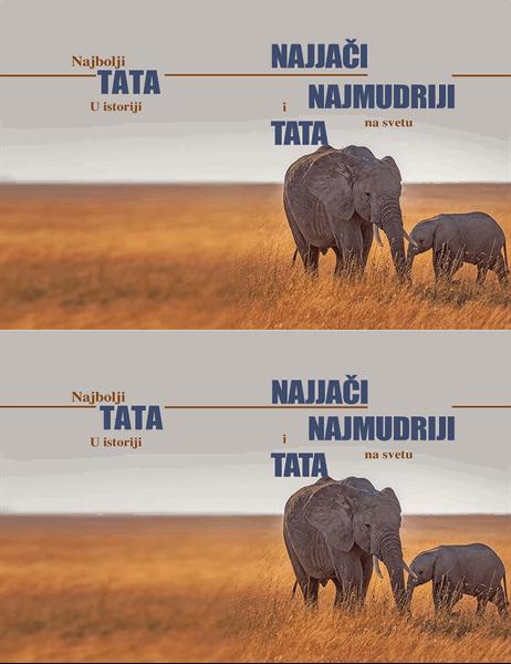 Mudri slon, čestitka za dan očeva